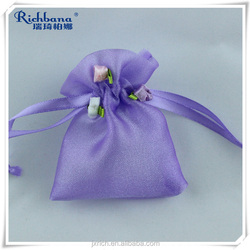 romance purple drawstring gift pouches with headwear
