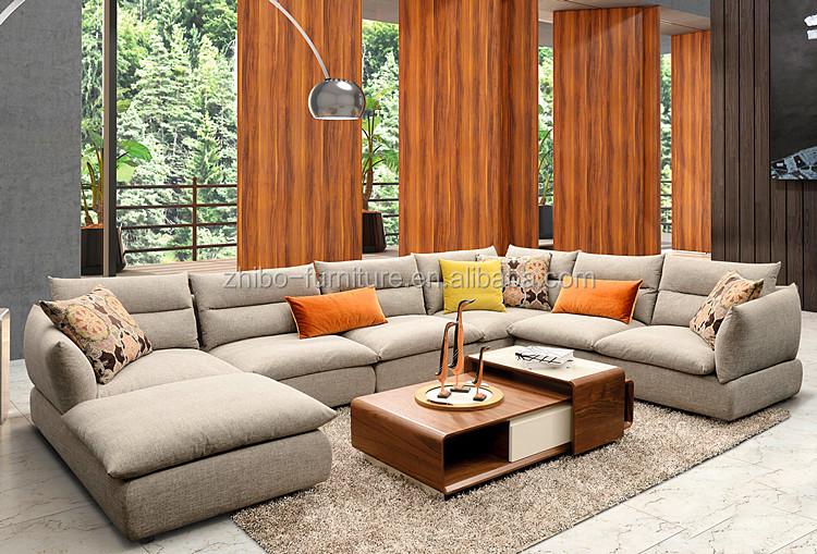2016 laatste stof sofa ontwerp u vormige sectionele sofa ronde ...