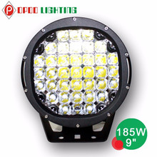 "Car led spot light 12v for atv suv 4x4 9"" 185w led driving light"