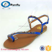 bridal shoes/ rhinestone ladies flat shoes/rope sandals