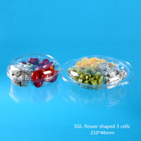 Clear fresh fruit salad packaging tray with 3 dividers