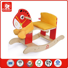 small rock toys important from china wood and plush material ride on animal toy outdoor sport wooden rocking horse toy