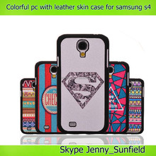 Colorful pc + leather skin case for samsung galaxy s4 i9500, for samsung galaxy s4 case with leather skin
