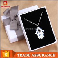 America popular 925 silver jewelry evil eye necklace hand of fatima hamsa pendant