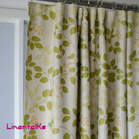 New Modern Design Blackout Window Curtains, green leaves printed floral blackout curtains