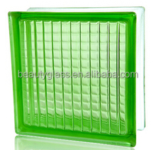 green parallel colored hollow glass blocks with factory price