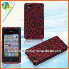 New! Hot red leopard skin cover For iphone 4G 4S rubberized cell phone case