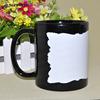 Sunmeta 11oz black sublimation mug with white slate patch