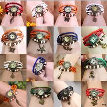 Charm Bracelet Leather Vintage Watch Lady Quartz Wrist Watch Leaf /Flower / Butterfly /Owl Pendant Watch