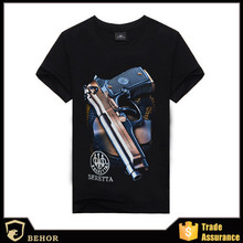 The hottest new printing men's fashion men's short sleeve T-shirt 3 dt T-shirt Pistol printed cotton T-shirt customization