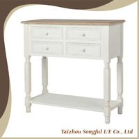 New Fashion Mediterranean Style Distressed Wooden Side Table White Wooden Console Table hall table