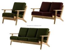 wood sofa with soft cushion Hans Wegner Plank sofa high quality sofa