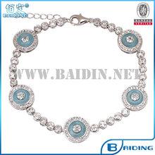 luz azul glss 925 pulseira de prata kabbalah tênis de diamante