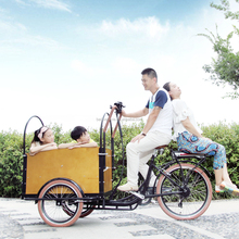 CE bakfiets family front loading electric tricycle cargo three wheel motorcycle with cabin box