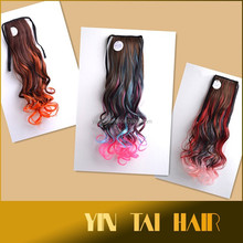 2015 Alibaba Express Long Wavy Ombre Color Pongtail Hair , Fashionable Design Highlight Ponytail Extension Claw on Pony Tail