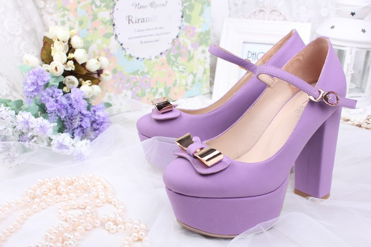Princess sweet lolita shoes BOBON21 model with the same Purple high-heeled shoes With waterproof platform wedge high heels