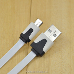 Factory Diretly Wholesale Low Price Flat Micro USB To USB Charger Mobile Cable White Color