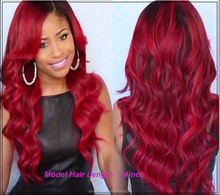 150 Density wave Lace Front Wig, Human Hair/Full Lace Wigs, Brazilian Red long wave Human Hair Wigs