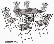 Rustic Iron Folding Dinning Table and Chairs Set (1 Tablt + 6 Chairs)