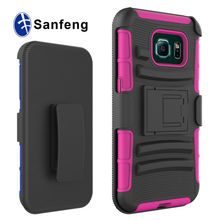 Hybrid 3 in 1 PC Silicone Cell Phone Case For Galaxy S6 Edge Holster Case