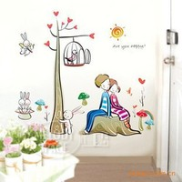 100pcs Fashion Wall Sticker sticker tree lovers living room bedroom TV wall stickers - without prejudice to wall