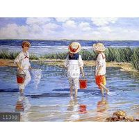 handpainted children playing on beach oil painting on canvas