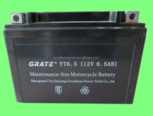6.5AH 12v lead acid battery manufacturer dry charged battery for motorcycle