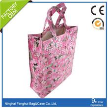 Full print pink PP cotton bag shopping bag