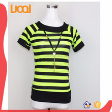 flat knit stripe t-shirt factory direct wholesale t-shirt womens fitted t-shirts