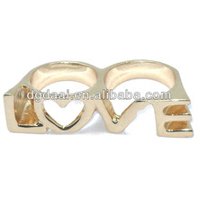 Lovers two finger wedding rings custom letter two finger ring