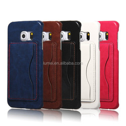 Hot Sale Pu Leather Back Stand Case for Samsung Galaxy S6 Edge