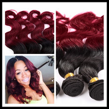 2015 New products ombre hair weave silk straight colored two tone virgin brazilian human hair extension