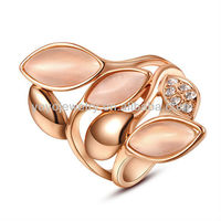 R316 High quality zinc alloy cast rings copper lock ring yellow gold aquamarine rings