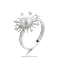 Freasheater Pearl Jewellery Women Accessories 925 Silver Fashion Ring SRK019W