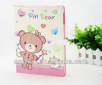 Latest design bear cartoon dormancy leather case for ipad mini