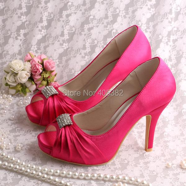 Wholesale Custom Handmade Hot Pink Heels For Women Wedding Shoes