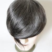 5*9 7-8inch short hair free style add 40% grey hair full thin skin man toupee