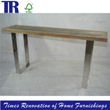 solid wood wide console ,metal bottom console,hand-fabricated steel base dining table