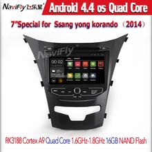 Quad Core 1024 X 600 Pure android 4.4 coche DVD para SsangYong Actyon nuevo / Korando 2014 grabadora de Radio estéreo wifi navi
