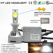 Factory price H7 led headlamp with 35W MT-G2 chip 3200 lumen use for car headlight and fog light