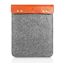 Button Closure Customized Felt Leather Tablet Cases