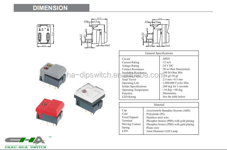 illuminated push button switch pb86