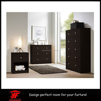 Dark Brown Wood 3 piece Set Modern Used Bedroom Furniture for sale