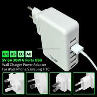 Portable 6 Ports USB AC Power Adapter US EU UK AU Plug Wall Charger for iPhone IPAD Galaxy HTC SAMSUNG mp3 mp4 5V 6A