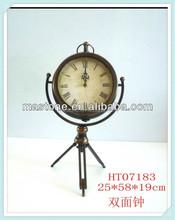 Handmade vintage antique brass mini table clock for decoration/metal desktop clock