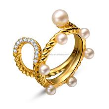 24 K Gold Wedding Ring Pearl Ring