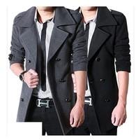 2012 Winter Fashion Fit Trench Men's Slim Coat Jacket Black Woolen Cloth Wholesale Men woolen cloth dust coat