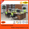 Hot sale modern Melamine free combined type 4 Seat Office partition Workstation table/desk