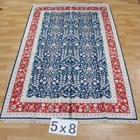 152x244cm red border blue filed with white floral handmade korean rugs