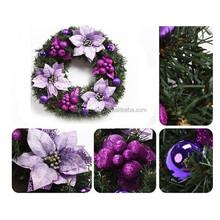 50cm Artificial purple Poinsettia Christmas Wreath - Xmas Decoration